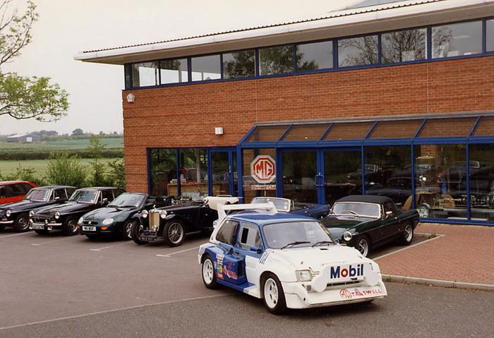 MG 6R4 Rally car taking pride of place in front of the MGOC HQ
