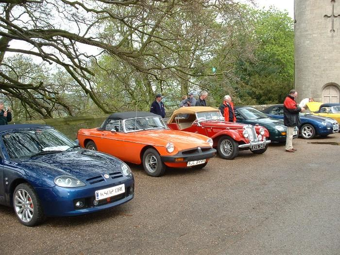 A selection of Northants MGOC cars on the Heart of England Run in 2004