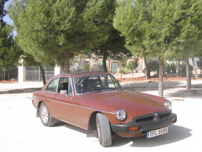 The still UK registered, MG in its new home in the village of Culebron, Alicante