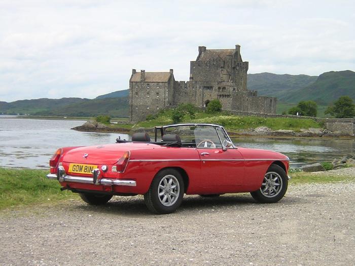 Our '74 Roadster visits Eilean Donan Castle, Loch Alsh.