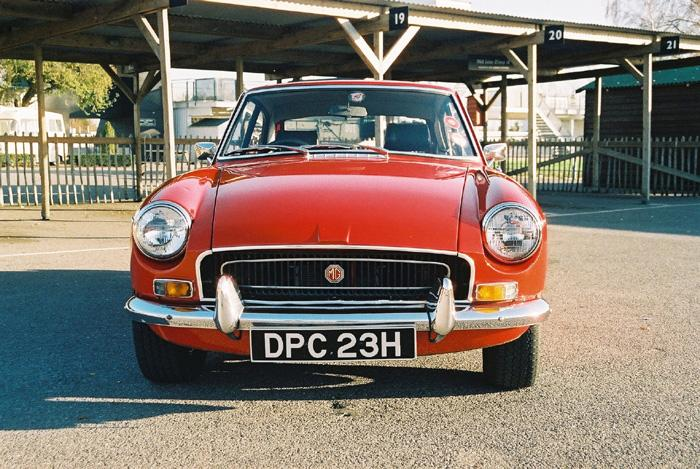 Frontal view of MGB GT at Goodwood featured in January 2005 Enjoying MG