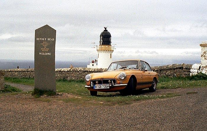 This 1973 MGB is usually based in Munich, Germany. The picture was taken in June 2004 with the car parked in front of Dunnet Head Lighthouse as part of a 2 weeks 4000 miles trip through Scotland.
