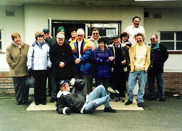 Northants MGOC members after their freezing cold Driving Skills test day at the Aviator, Sywell