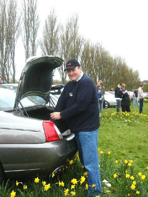 Roger joining the crowd of well-wishers that convoyed up to Q -Gate to show their support for the Longbridge workforce.
