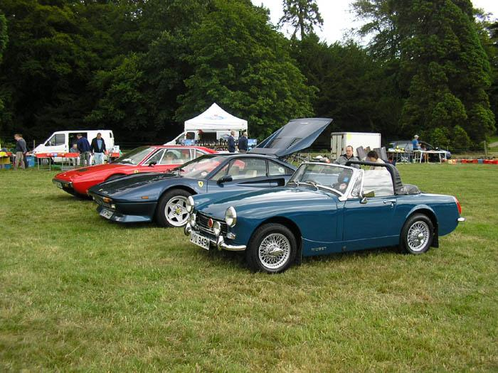 Parked at Ripley Castle for the Classic Car and Bike Show, next to two lovely Ferraris.  The red Dino looked fabulous.