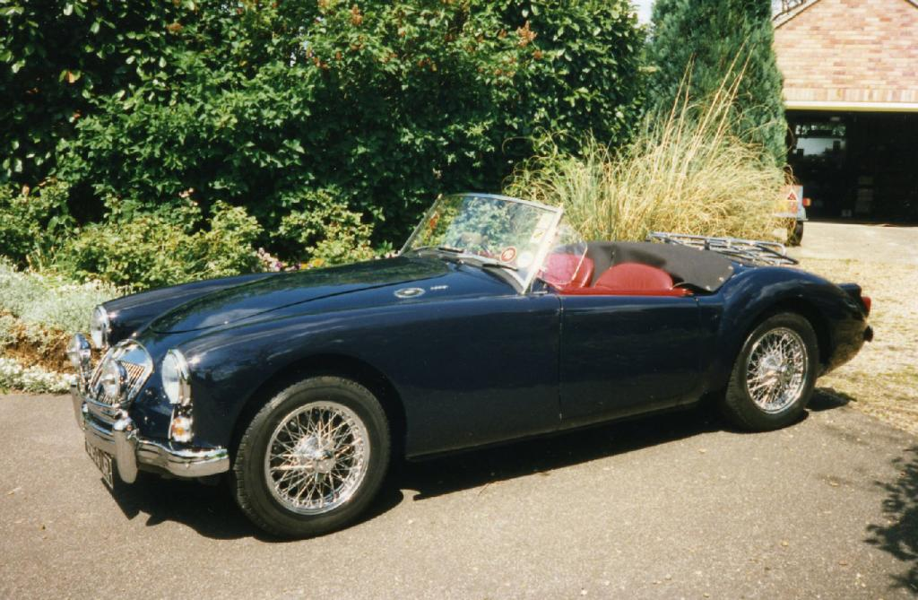 1959 MGA in Jaguar Racing Blue. The previous owner, a Jaguar garage owner and restorer, had plenty in stock.
