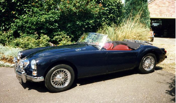 My MGA finished in Jaguar Racing Blue. The previous owner ran a Jaguar restoration company and had plenty of that colour in stock evidently.
