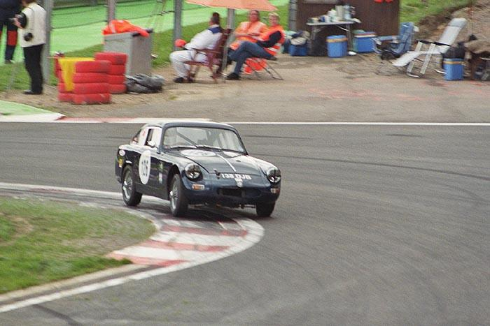James Willis' closed MG at Spa/Francorchamps - another shot at the bus stop chicane