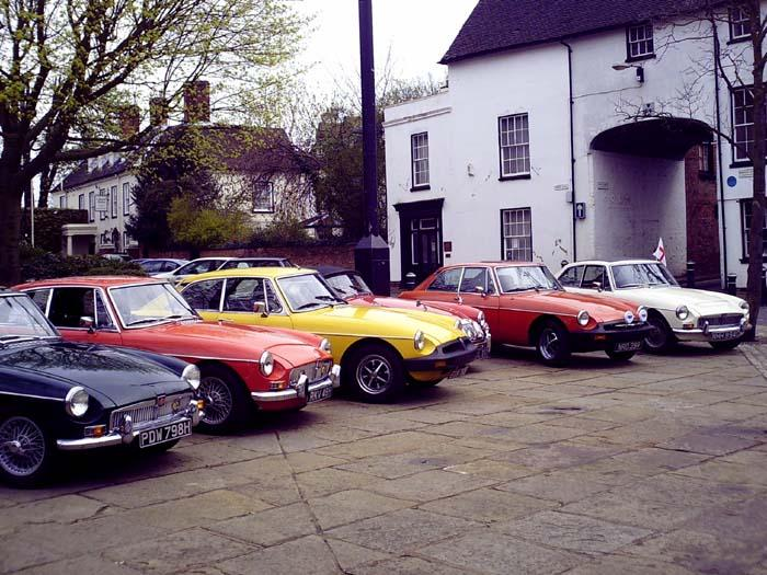 Another shot of the MG line up in Atherstone.Don't ask what the caption is about!