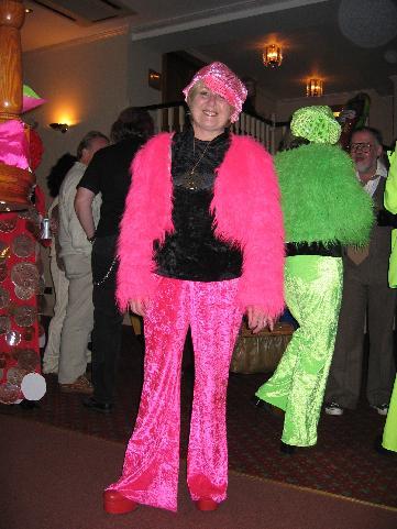 Sandra's very pink fancy dress costume.