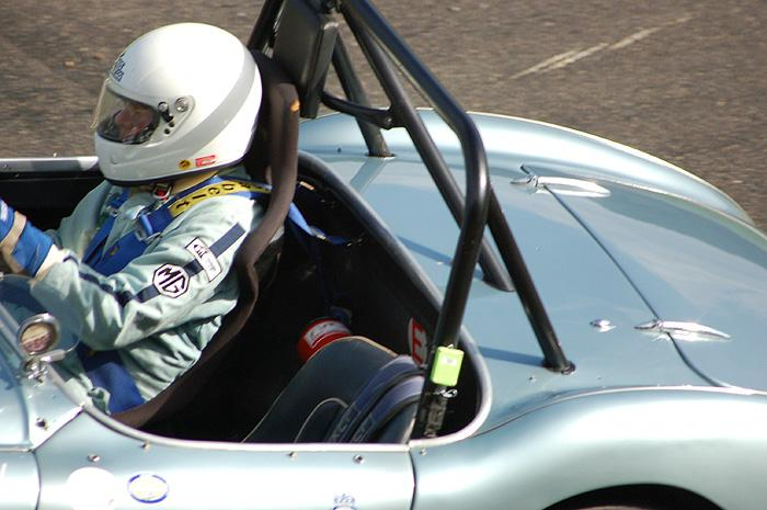 RAC Woodcote Trophy - Barry Sidery-Smith in 1954 Austin Healey 100M but with MG badge on left arm !!!