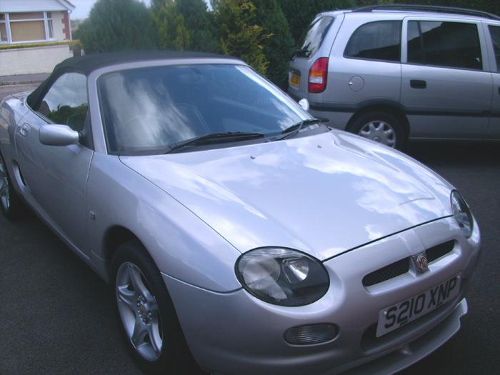 My new (to me) MGF parked on my in-laws drive on the day i picked it up.