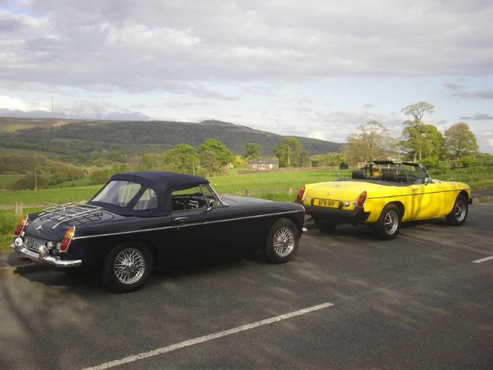 Peter and Fred Myles' MG's with a backdrop of Winterhill (The younger one in front)