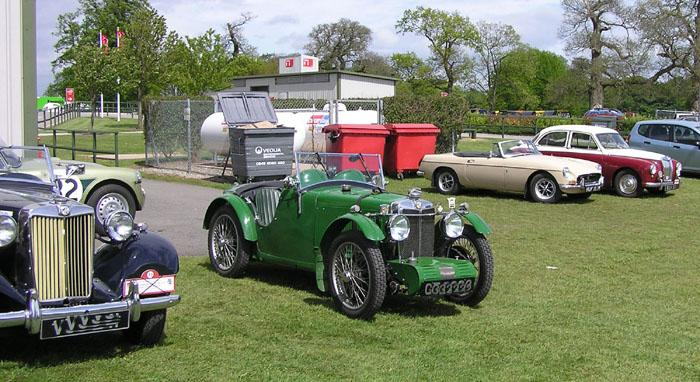 My B surrounded by some other lovely MG's outside the Fogarty-Moss centre at Oulton Park