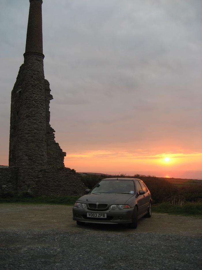 Disused Cornish tin mine at sunset