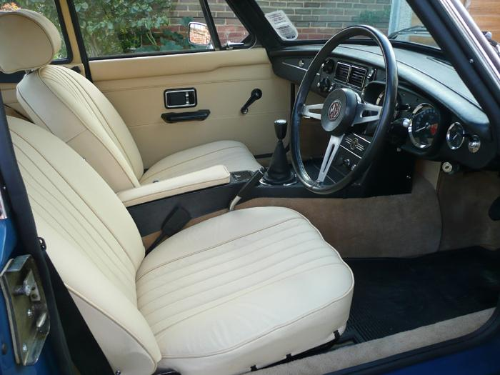 1973 MGB GT Jag Magnolia interior with Biscuit coloured carpets