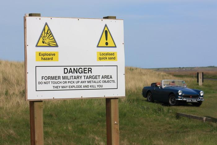 "We'd taken our 1972 Midget to Holy Island at Whitsun, where we came across this warning notice: ""Do not touch or pick up any metallic objects....."" Don't remember seeing that in the Haynes manual......"