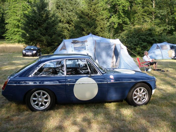 Our MGC GT @ the campsite near to Le Mans for the Classic 2010