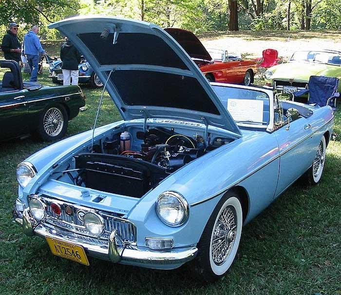 1965 MGB roadster. First car show in Waynesboro, Virginia, USA. Awarded first in class, chrome bumper MGB.