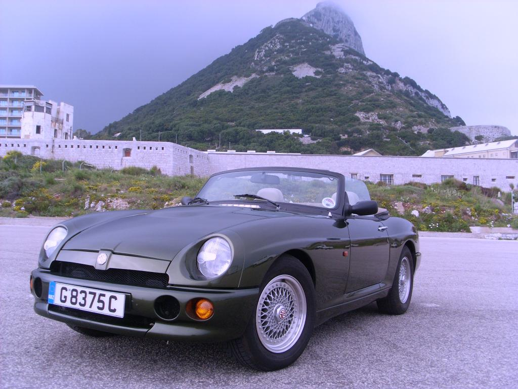 This MG RV8 was exported from UK to Gibraltar in Jan 2011. It was driven from near Manchester to Plymouth crossed to Santander Spain via Brittany Ferry and then driven down through Spain to Gibraltar.