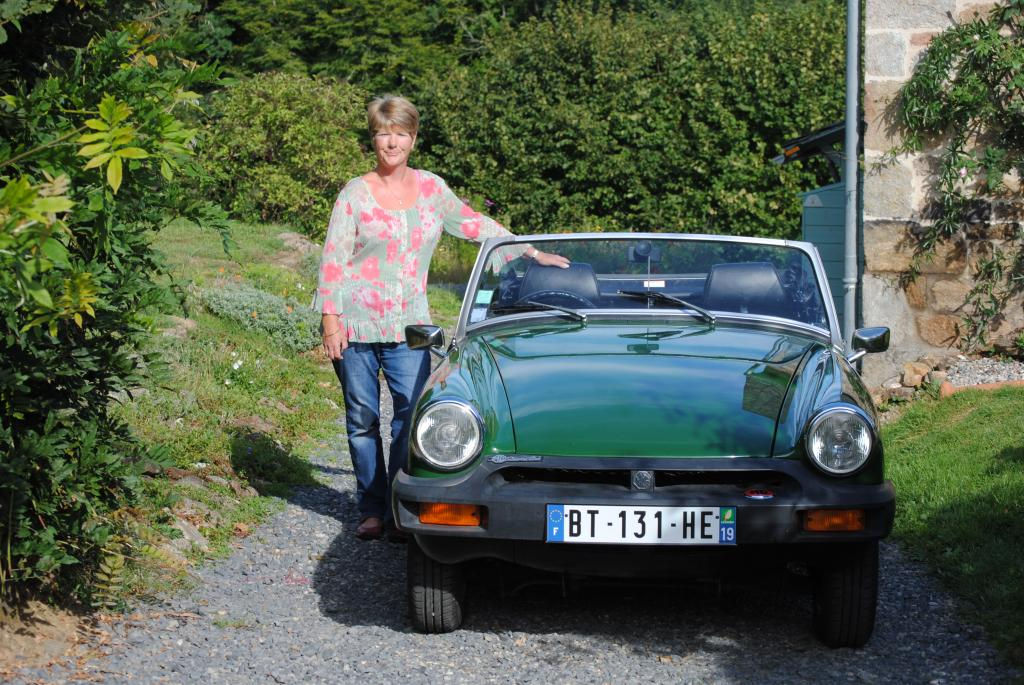 Bridget the midget 1500cc. My birthday present. Sue Simmons in the Correze France