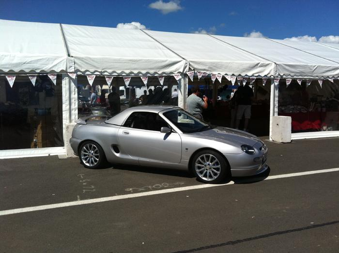 Outside the MGF centre tent at Silverstone