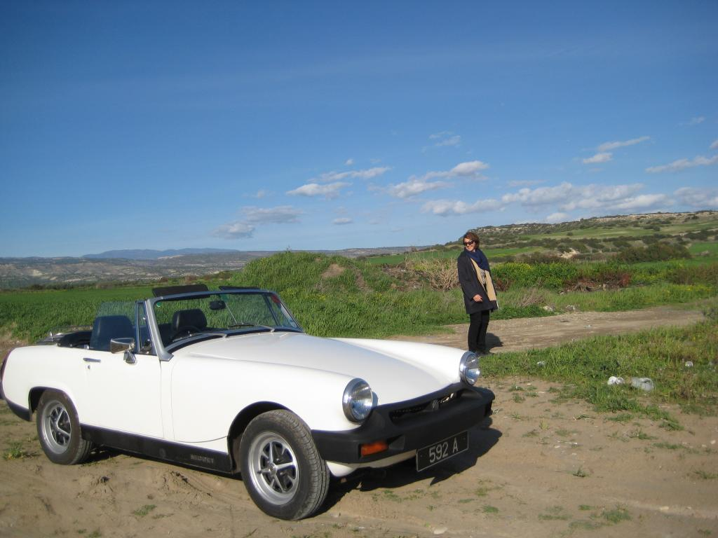 Us enjoying Cyprus's mild winter - Jan 2014 - in my lovely 5 speed Midget
