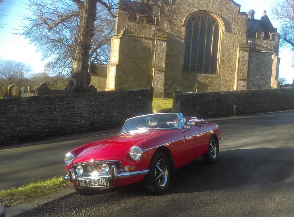 Our MGB in Downham, Lancashire
